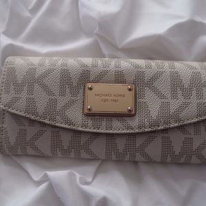 Michael Kors Brown and Ivory Logo Wallet